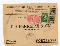 "N°Yt 2X174 + 2X PA 8 + PA 22 Obli. De PORTO ALEGRE CORR. AERO + GRIFFE ""AEROPOSTALE"" SUR DEVANT DE LETTRE 1931 - Brasile"