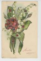"""FLEURS - Jolie Carte Fantaisie Gaufrée Avec Paillettes Roses Et Muguet """"Amitié Sincère """" (embossed Postcard) - Fleurs"""