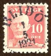 Sweden Sc# 142 Used (a) 1920-1921 10o Rose King Gustof V - Suède