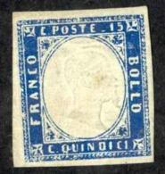 Italy Sc# 22 MH 1863 15c Blue King Victor Emmanuel II - 1861-78 Vittorio Emanuele II