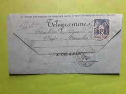 TB Lettre Télégramme RECOULES PREVINQUIERES,Aveyron, Type SAGE No 101,15 C Bleu, 1895> St Laurent D'Olt , Peu Courante - 1849-1876: Période Classique