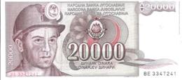 AK-div.28- 259 -   Jugoslawien - 20 000 Dinare  1987 - Nr. BE 3347241 - Yougoslavie