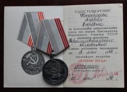 SOVIET LONG-TERM VETERAN OF LABOUR MEDALS + AWARD DOCUMENT! - Russia