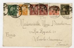 TUNISIE (RF) - N° Yt 70+29+2X30+31+32 Obli. DE TUNIS RP 1921 POUR LONS LE SAUNIER - Tunisia (1888-1955)
