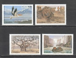 Y256 1991 ZAMBIA FAUNA WILD ANIMALS LIONS BIRDS TOUCANS TOURISM #586-89 1SET MNH - Stamps