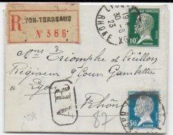 1923 - PASTEUR Sur LETTRE LOCALE RECOMMANDEE AR De LYON - 1921-1960: Modern Period