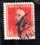 ALBANIA 1939 - 1940 RE VITTORIO EMANUELE II 15q USATO USED OBLITERE' - Occ. Allemande: Albanie