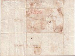 """FRANCE : MARQUE POSTALE . """" N° 5 Bau PRINCIPAL ARM D'ESPAGNE  """" . EN ROUGE  . 1811 . - Marcophilie (Lettres)"""
