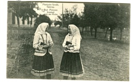 PÖSTYEN BAD PISTYAN Vasárnap BAD PISTYAN Sunday After Church Girls In Costumes C. 1908 - Hungría