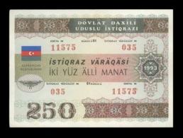 Azerbaijan Republic State Loan Bonds 250 Manat 1993 PICK # 13A RARE! - Azerbaïjan