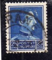 ALBANIA SHQIPERISE 1930 KING ZOG I RE 25q USATO USED OBLITERE' - Albanien