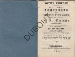 TIENEN/TIRLEMONT Notice Abrégée Fidèles Trépassés St Germain 1839 Drukkerij Merckx-Mertens (R75) - Oud