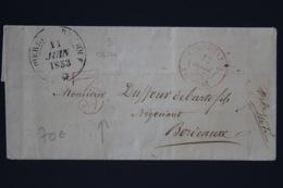 Martinique Cover Fort De France - St Pierre -> Bordeaux 1853 Porte 35 En Rouge    Colonies Par Pauillac - Martinique (1886-1947)