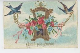 """FLEURS - Jolie Carte Fantaisie Gaufrée Fleurs Hirondelles Et Chaise à Porteur """"Cueilli Par L'Amitié """"(embossed Postcard) - Fleurs"""