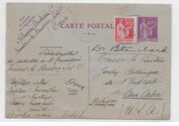 1936 - PAIX - CARTE ENTIER Avec COMPLEMENT De VERRIERES LE BUISSON => ANN ARBOR (MICHIGAN - USA) - Entiers Postaux