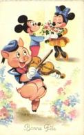 Walt Disney  Bonne Fete Naf Naf Cochon Au Violon  Mickey Mimi  RV - Altri