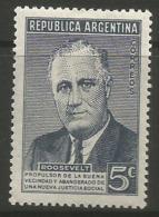 Argentina - 1946 Roosevelt 5c  MNH **     Sc 551 - Argentina