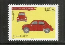 ANDORRA. Renault 4CV, Année 1947.  Un  Timbre Neuf **  Année 2019. - Spanisch Andorra