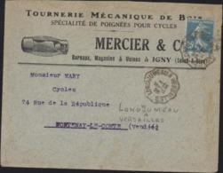 Enveloppe Illustrée Tournerie Mécanique De Bois Poignées Pr Cycles Vélo Mercier Igny Seine Oise YT 140 CAD Ambulant - Storia Postale