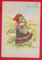 CARTOLINA VG ITALIA - BUONA PASQUA - Bambina Con Agnello - MARIAPIA - Ediz. PMCE - 10 X 15 - 1948 SCORDIA - Pasqua
