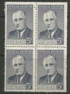 Argentina - 1946 Roosevelt 5c Block Of 4  MNH **     Sc 551 - Argentina
