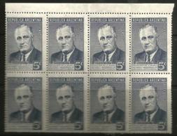 Argentina - 1946 Roosevelt 5c Block Of 8 MNH **     Sc 551 - Argentina