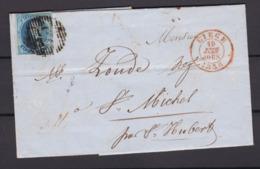 N° 7 Margé  / Lettre De LIEGE Vers ST Michel 10 Juin1856  Lac - 1851-1857 Medaglioni (6/8)