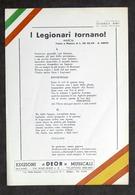 Musica - Testo Marcia - I Legionari Tornano - Guerra Spagna - Ed. Anni '50 - Libri, Riviste, Fumetti