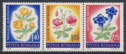 Romania Romana Rumänien 1973 Mi 3103 /5 YT 2738 /0 SG 3982 /4 ** Trollius Eur. + Lilium Martagon + Gentiana Excisa - Pflanzen Und Botanik