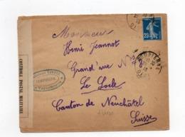 !!! PRIX FIXE : 25C SEMEUSE SUR LETTRE DE 1916 CACHET AMBULANCE COMPIEGNE POUR LA SUISSE; CENSUREE - Postmark Collection (Covers)