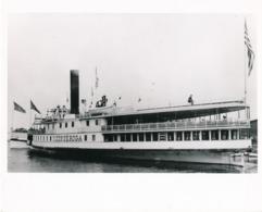 Grande Photo Steamboat Steamship Ticonderoga 1906 Animée Tampons - Boats