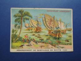CHROMO  Lith. MINOT. Chocolat LOMBART.  Débarquement  De  SAINT-LOUIS  En  EGYPTE.  1249 - Vieux Papiers