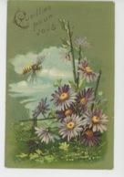 """FLEURS - Jolie Carte Fantaisie Gaufrée Fleurs Et Insecte Guêpe """"Cueillies Pour Vous """" (embossed Postcard) - Fleurs"""