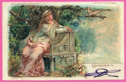 Litho - Bitte Gegen Das Licht Zu Halten - Lohengrin - Femme Avec Oiseau Messager - METEOR - Oblit. CAETA 1901 - Halt Gegen Das Licht/Durchscheink.
