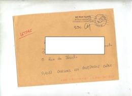 Lettre Cachet Poste 39484A France  Parie Muette Bleue + Pas Taxer Demandé Expediteur - Marcophilie (Lettres)