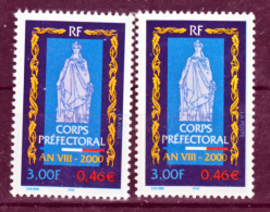 France 3300 Corps Préfectoral Variété Violacé Et Normal Neuf ** TB MNH Sin Charnela - Variétés Et Curiosités