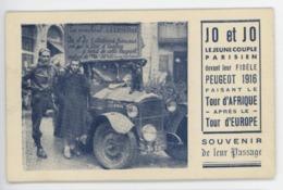 ° AUTOMOBILE ° PEUGEOT 1916 ° JO Et JO Faisant Le TOUR D'AFRIQUE Après Le TOUR D'EUROPE ° - Passenger Cars