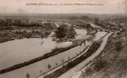 Cpa 80 ECLUSIER-VAUX 1927 La Vallée De La Somme (vue Prise De La Montagne De Vaux) Et Le Canal Vers Frise (avec Péniche) - Altri Comuni