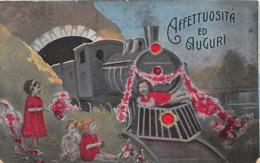 Affettuosita Ed Auguri -   Bambini -   Treno -  Fiori - 1920 - Novara - Felicitaciones (Fiestas)