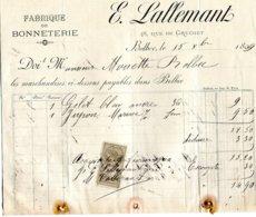 Bolbec(76): Facture Bonneterie E; Lallemant. 1894 - Francia
