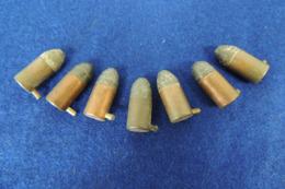 7 Munitions 9mm à Broche Poudre Noire, Pour Collection - Armes Neutralisées