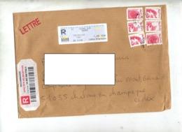 Lettre  Recommandée Tours Sur Serie Theme Paix Etc - Postmark Collection (Covers)