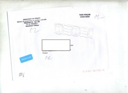 Lettre  Taxe Percue Flamme Muette Prague Entete Ambassade - Briefe U. Dokumente