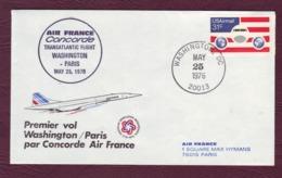 Premier Vol  WASHINGTON / PARIS Concorde Air France - 25 Mai 1976 - Lettres & Documents
