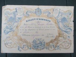 PENSIONNAT DES FRERES DES ECOLES CHRETIENNES MOMIGNIES BILLET D'HONNEUR LE 29 JANVIER 1920 LE DIRECTEUR FRERE ARESE - Diplômes & Bulletins Scolaires