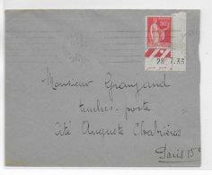 1934 - PAIX AVEC COIN DATE Sur ENVELOPPE De PARIS => PARIS - 1921-1960: Modern Period