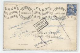 Marcophilie  1950 Adresse Incomplète Cachet Inconnu A L'appel Brigade Grenoble De Lourdes - 1921-1960: Modern Period