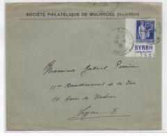 """1938 - PAIX Avec PUB COIN De CARNET """"BYRRH"""" - ENVELOPPE De MULHOUSE => LYON - 1921-1960: Modern Period"""