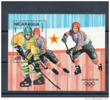 Nicaragua. Bloc Feuillet. Hockey Sur Glace - Nicaragua