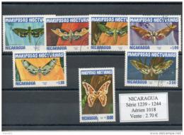 Nicaragua. Papillons De Nuit. Série Complete Oblitérée - Nicaragua